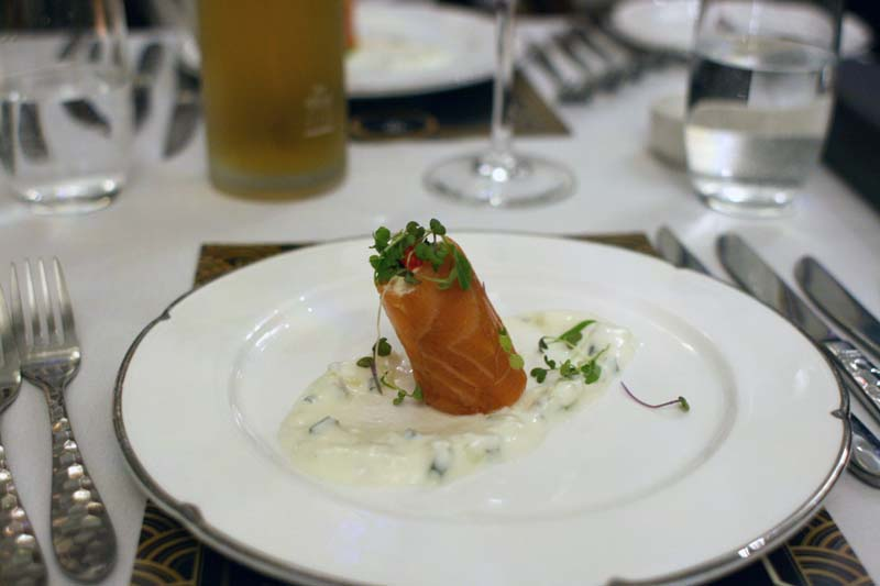Smoked salmon and blue manna crab roulade with cucumber yoghurt and ...